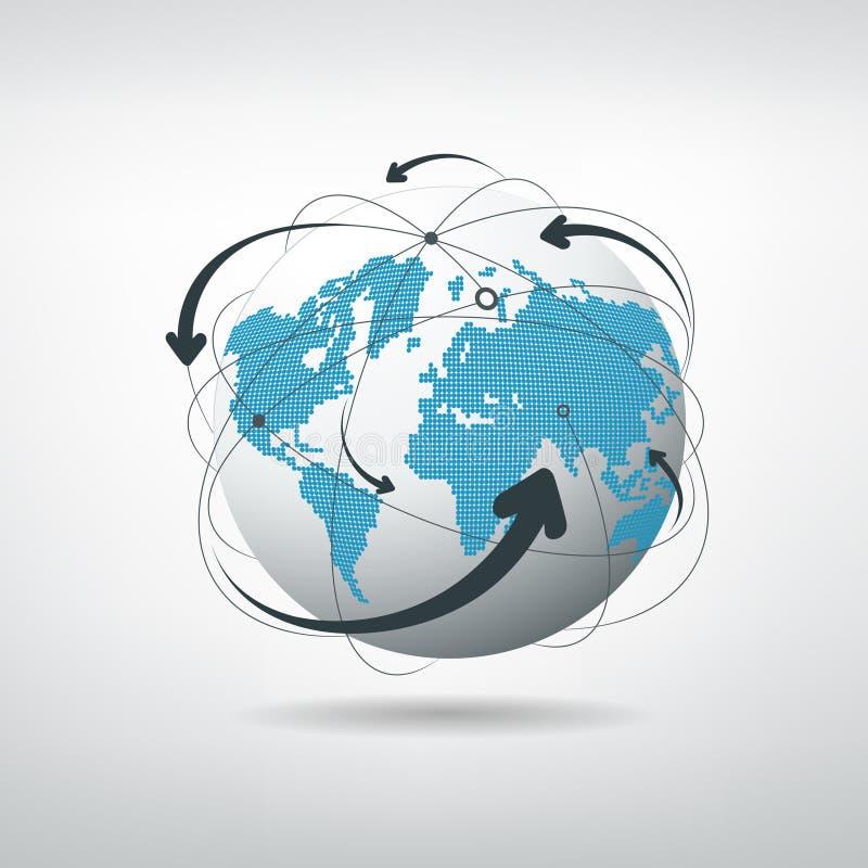 Red de las conexiones del globo stock de ilustración