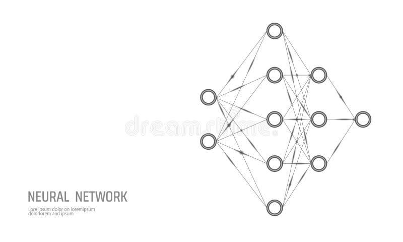 Red de los nervios Red de la neurona Profundamente aprendiendo Concepto cognoscitivo de la tecnología Memoria lógica de la inteli libre illustration