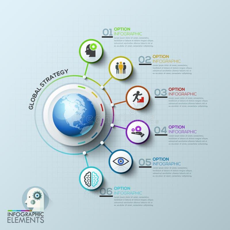 Red de los ordenadores de empresa Plantilla global stock de ilustración