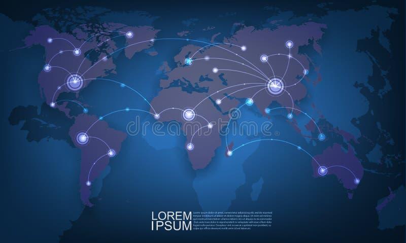 Red de malla de la tecnología del mundo, ejemplo del vector stock de ilustración