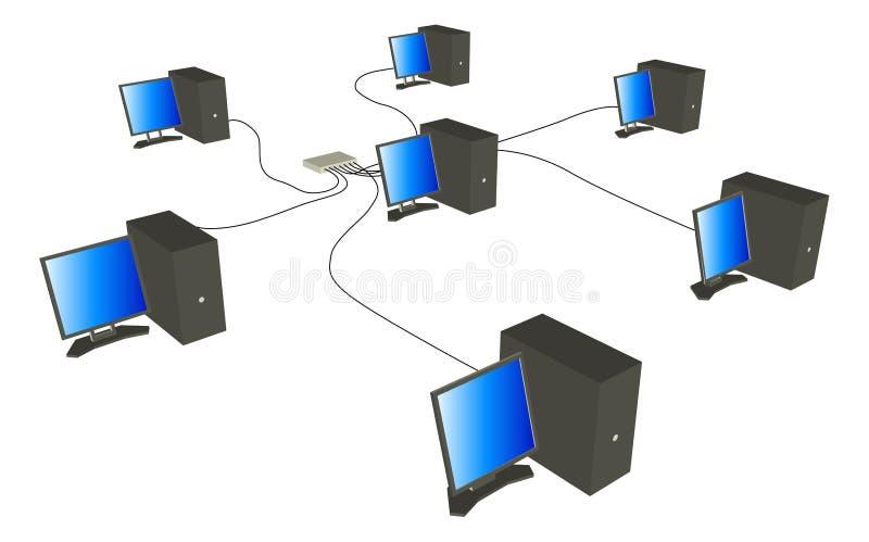 Red de ordenadores ilustración del vector