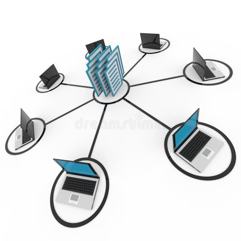Red de ordenadores abstracta con las computadoras portátiles. Archivo. ilustración del vector