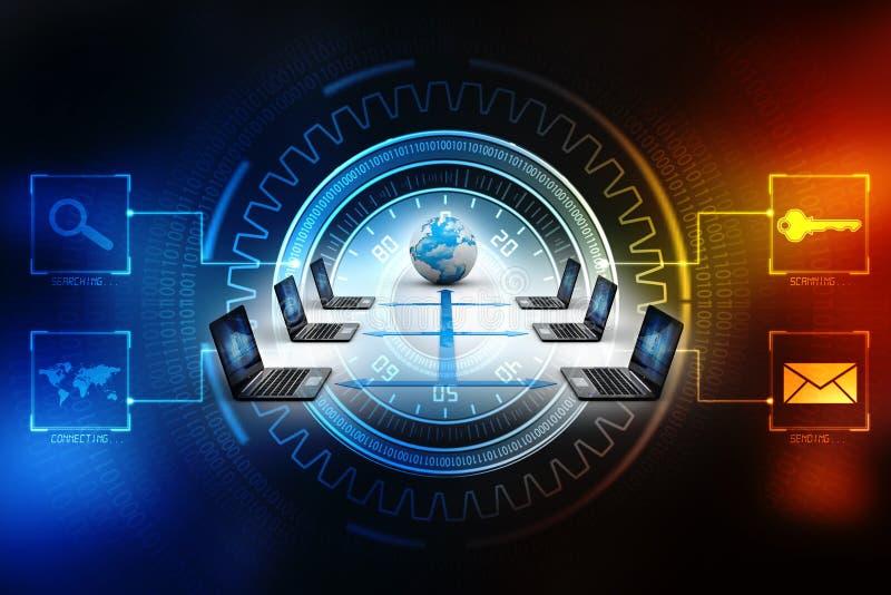 Red de ordenadores, comunicación de Internet, aislada en fondo de la tecnología representación 3d fotografía de archivo