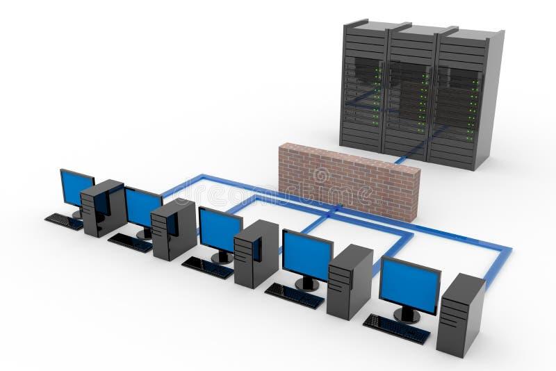 Red de ordenadores con el servidor y el cortafuego libre illustration