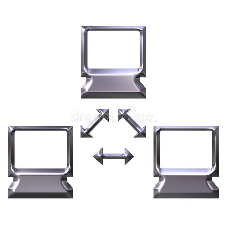 red de ordenadores de plata 3D libre illustration