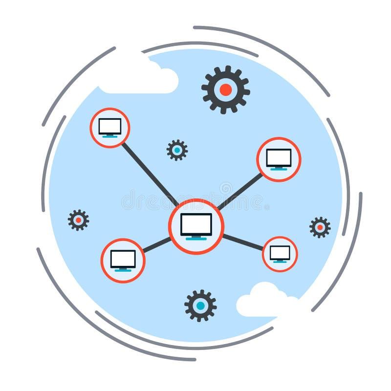 Red de ordenadores, nube que computa, concepto teledirigido ilustración del vector