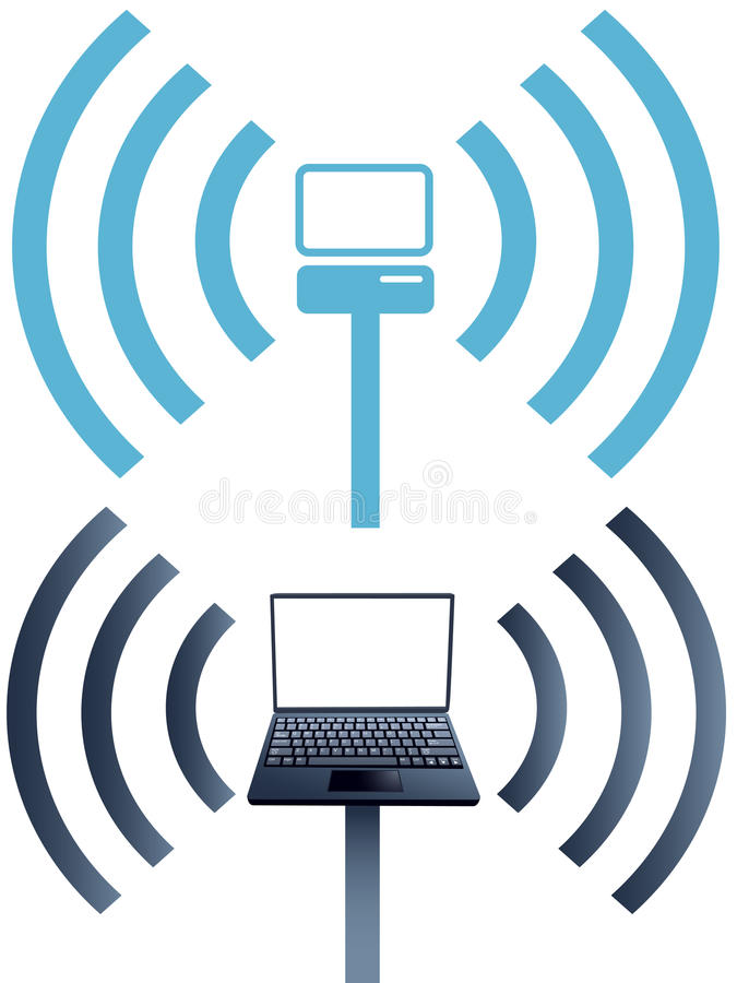 Red de ordenadores sin hilos del wifi de los símbolos de la computadora portátil ilustración del vector