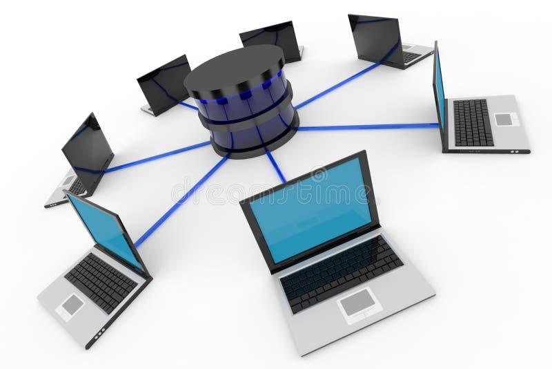 Red de ordenadores y base de datos abstractas. Concepto. stock de ilustración