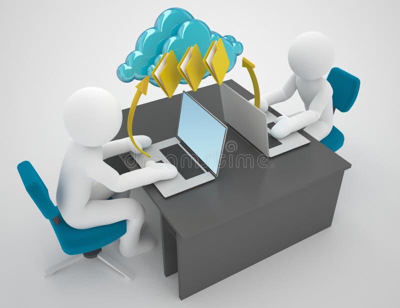 Red de ordenadores y nube que computan concepto grande de los datos stock de ilustración