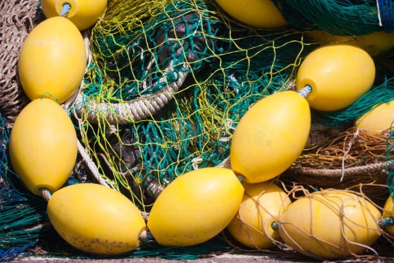 Red de pesca con los flotadores fotografía de archivo libre de regalías