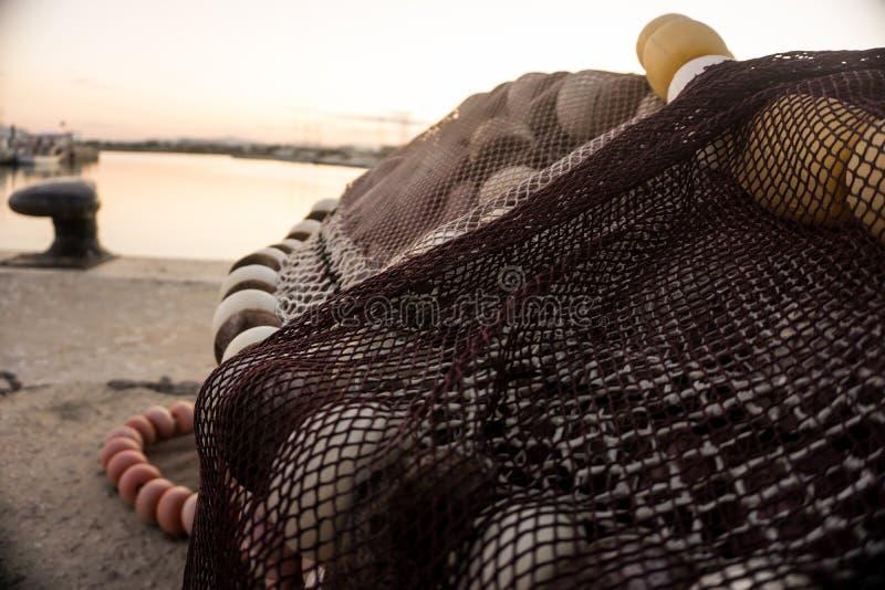 Red de pesca con los flotadores fisheries foto de archivo