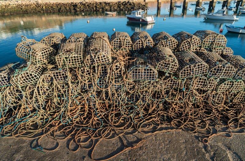 Red de pesca en los muelles imagen de archivo