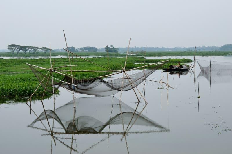 Red de pesca tradicional en Asia del Sur imagenes de archivo