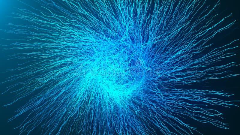 Red de ramificación asimétrica del fractal de las partículas, nervios, neuronas, vasos sanguíneos, capilares que crecen 3d para r ilustración del vector