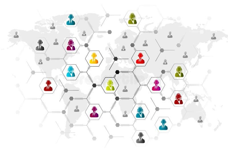 Red de servicio de atención al cliente libre illustration