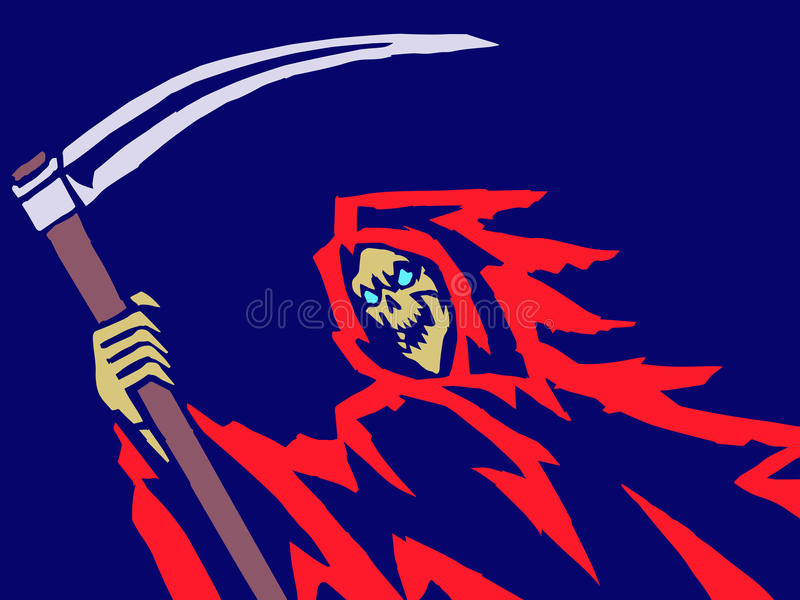 Red Death with a Scythe. Vector Illustration. royalty free illustration