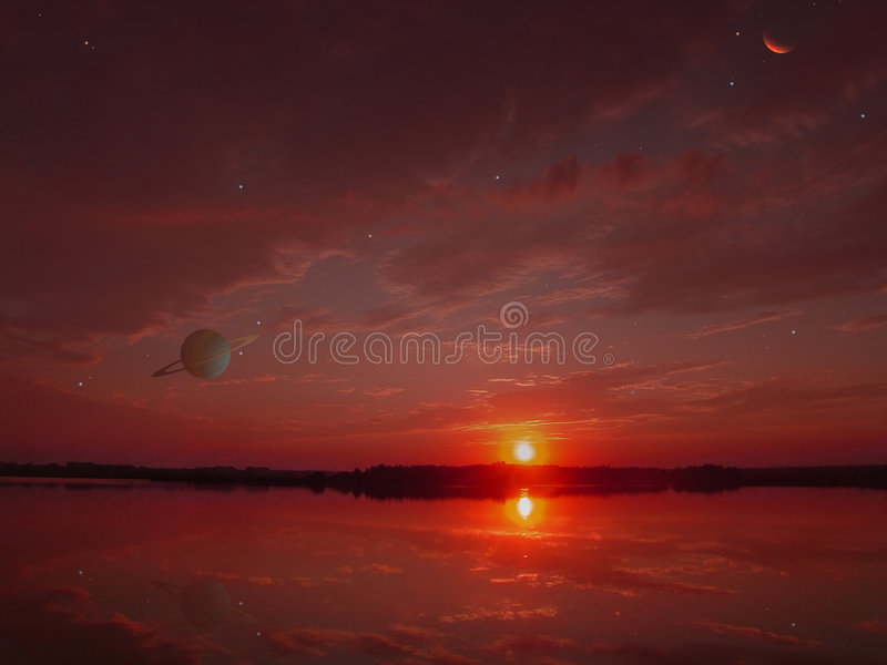Download Red Decline On An Another's Planet Stock Photo - Image: 8801006