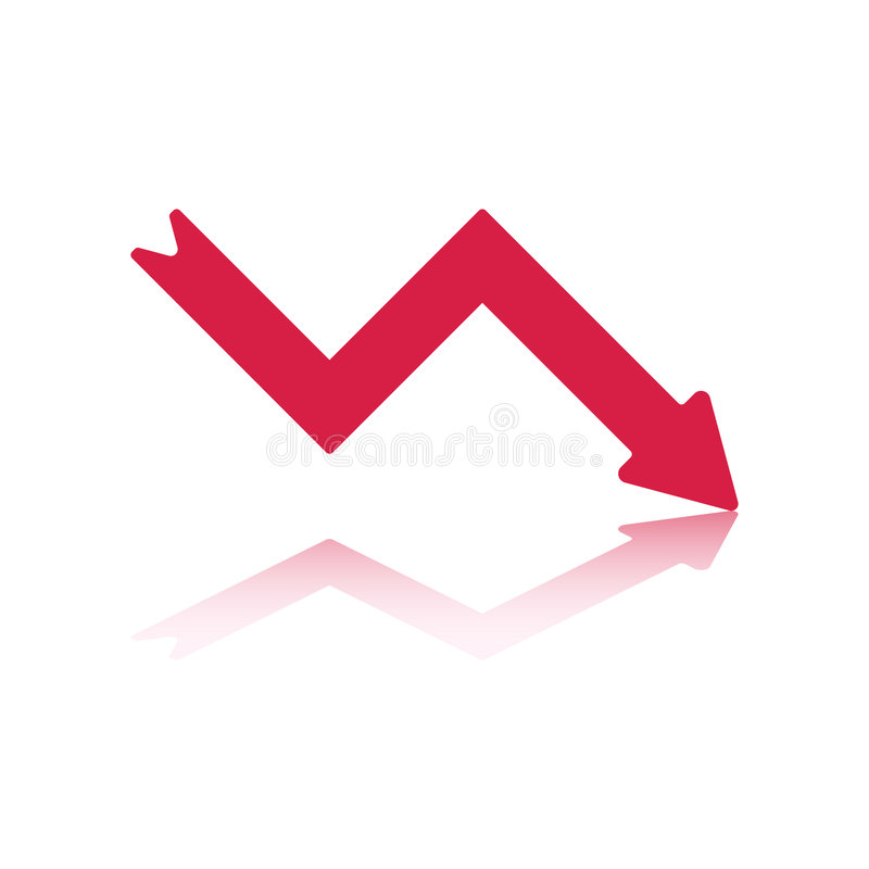 Download Red Decline Arrow stock vector. Image of recession, element - 6635042