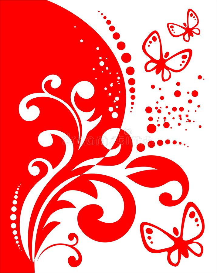 Red decor and butterflies royalty free illustration