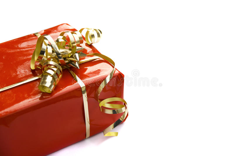 Red decorated gift-box royalty free stock photos