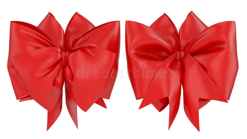 Red decoration celebration present gift bow isolated on white ba vector illustration