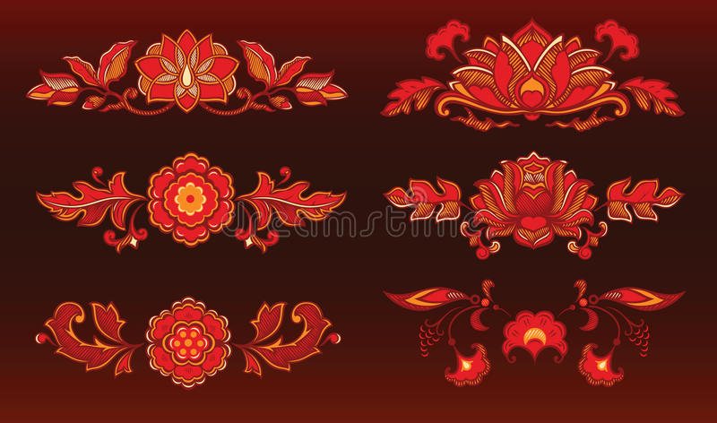 Red decorative flowers royalty free illustration
