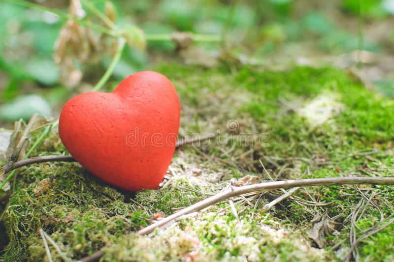 Red decorative heart on an old tree stump. Love concept. Red decorative heart on an old tree stump with moss. Love concept, background, wedding, design, vintage stock image