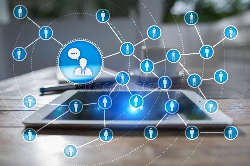 Red del icono de la gente SMM Comercialización social de los media imagen de archivo