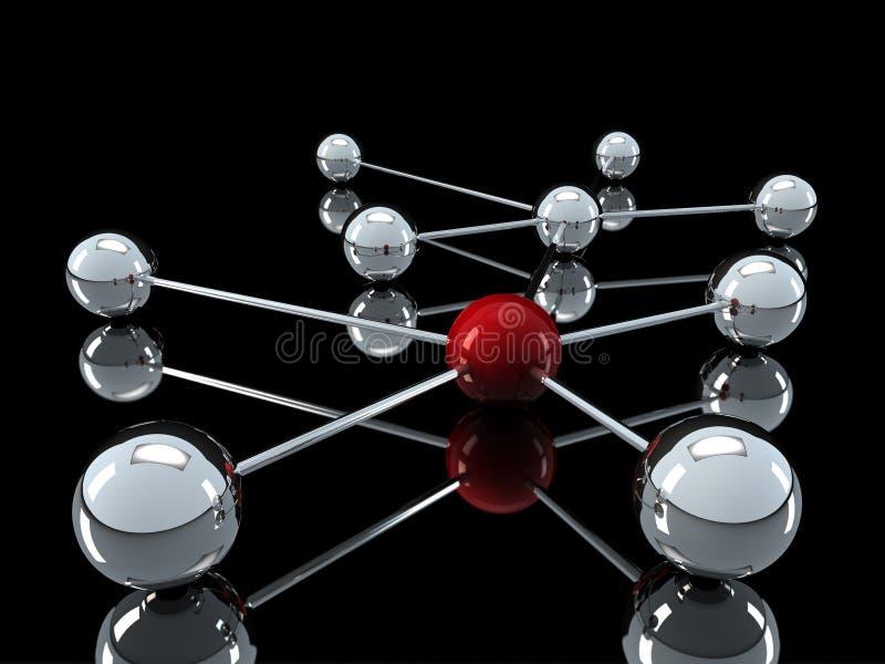 red del rojo de cromo 3d ilustración del vector