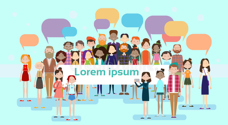 Red del Social de la muchedumbre de la raza de la mezcla de la comunicación de la burbuja de la charla del grupo de la gente stock de ilustración
