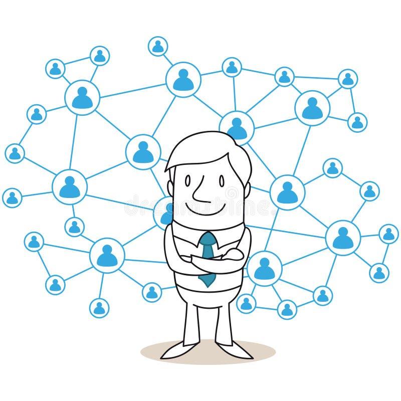 Red del social del hombre de negocios ilustración del vector
