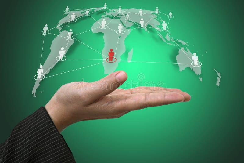 Red del Social del mundo del asimiento de la mano stock de ilustración