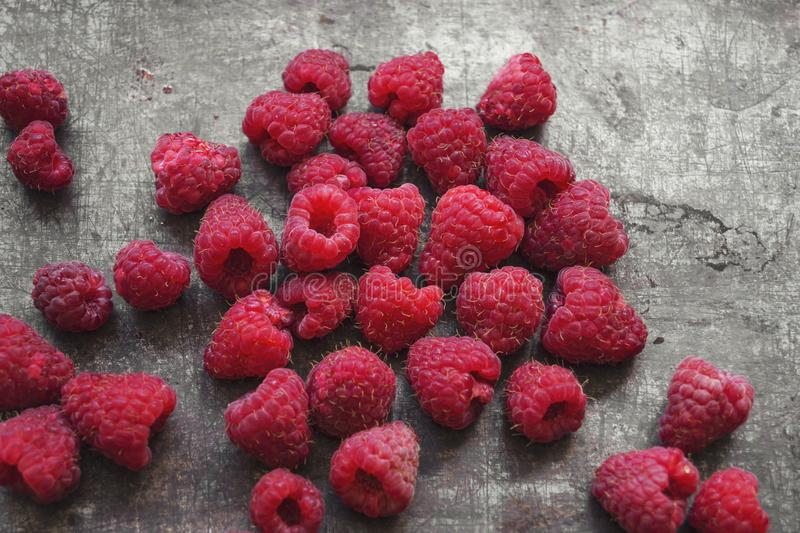 Red,delicious raspberries from above. Food concept stock images