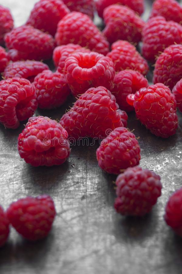 Red,delicious raspberries close up. Food concept stock image