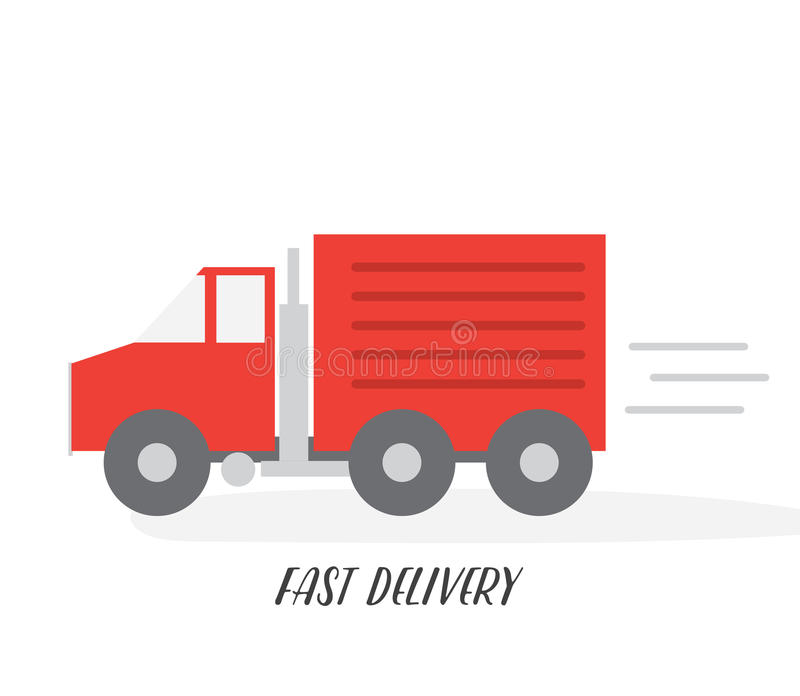 Red delivery truck. Flat vector illustration. Isolated on white background stock illustration