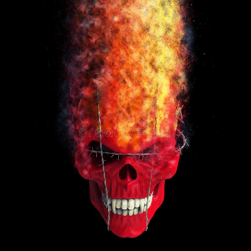 Red demon skull bound with barb wire disintegrating into dust and flames. Isolated on black background stock illustration