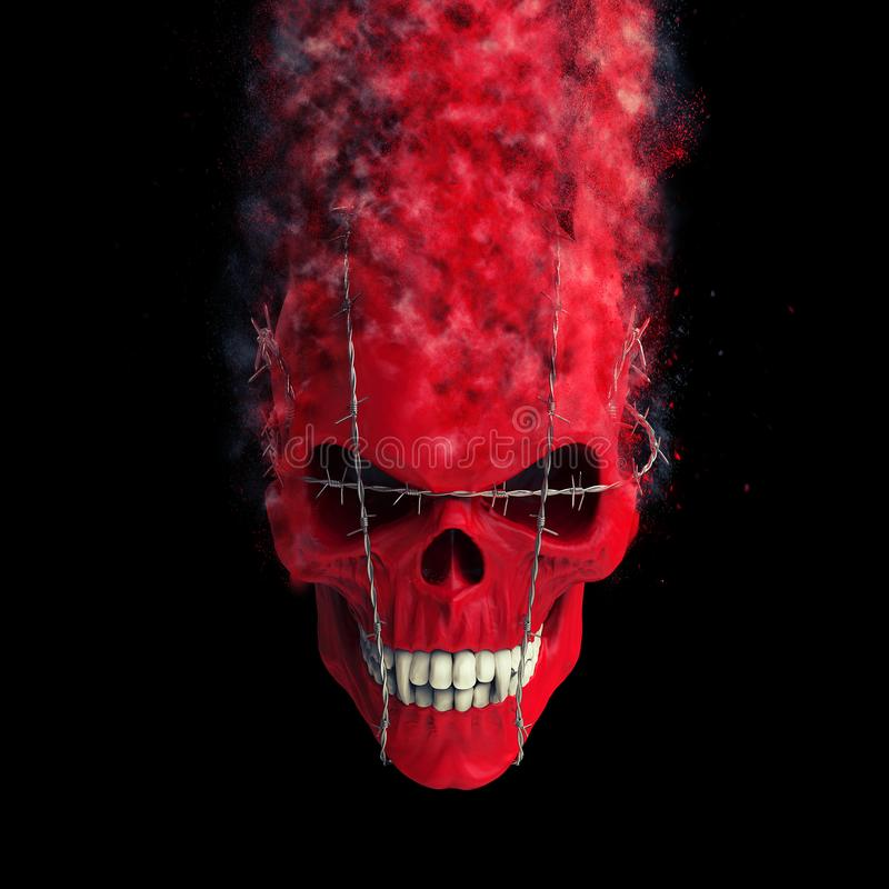Red demon skull bound with barb wire disintegrating into dust. Isolated on black background stock illustration