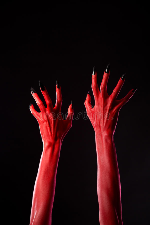 Download Red Demonic Hands With Black Nails, Real Body-art Stock Image - Image of carnival, death: 34389387