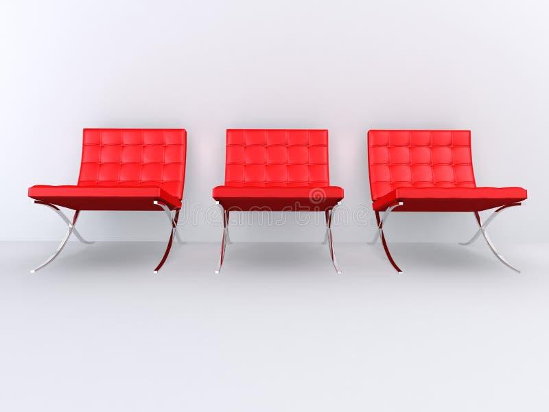 Red designer chairs vector illustration