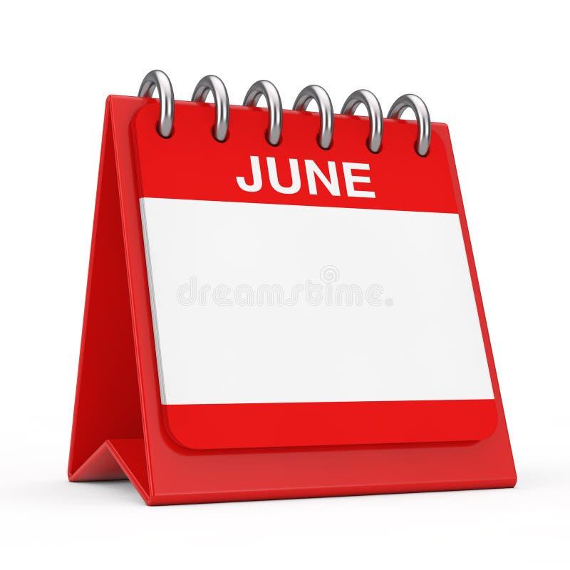 Red Desktop Calendar Icon Showing a June Month Page. 3d Rendering. Red Desktop Calendar Icon Showing a June Month Page on a white background 3d Rendering royalty free illustration