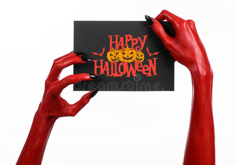 Red Devil Hand With Black Nails Holding A Paper Card With ...
