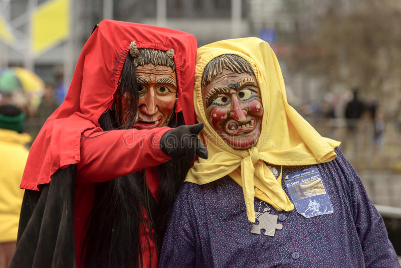 Red Devil Wizard And Witch At Carnival Parade, Stuttgart Editorial ...