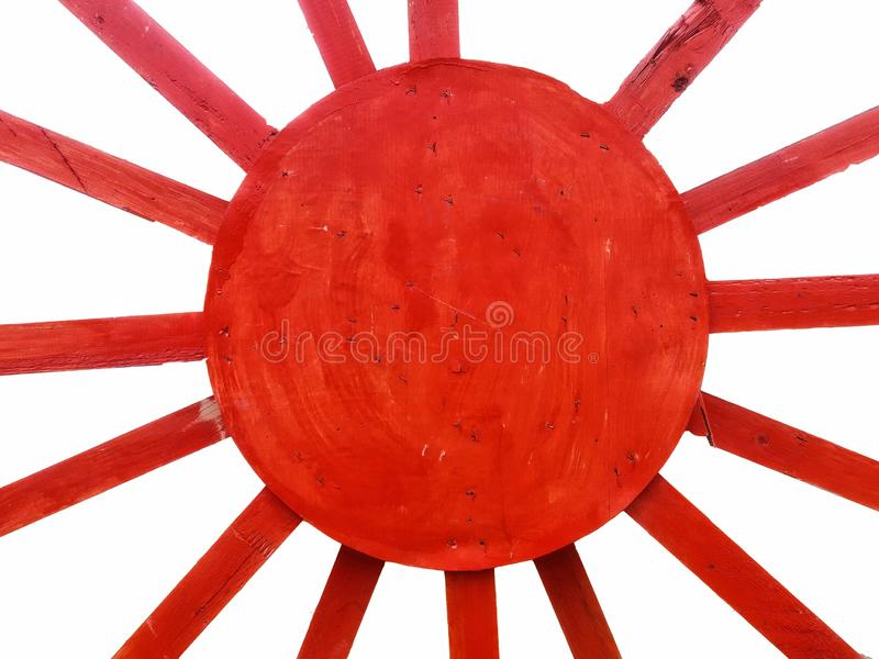 Red diagonal ray on wooden texture with white backgrounds stock image