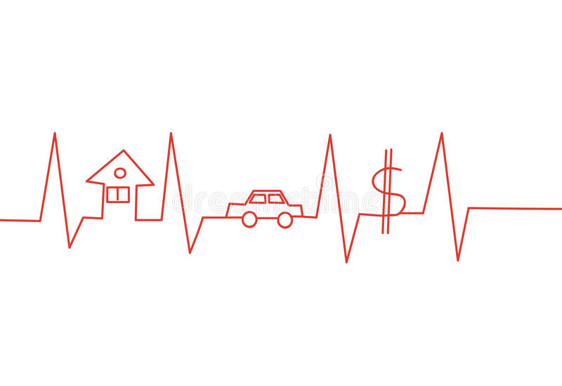Red diagram. Abstract heart line with home car and money vector illustration