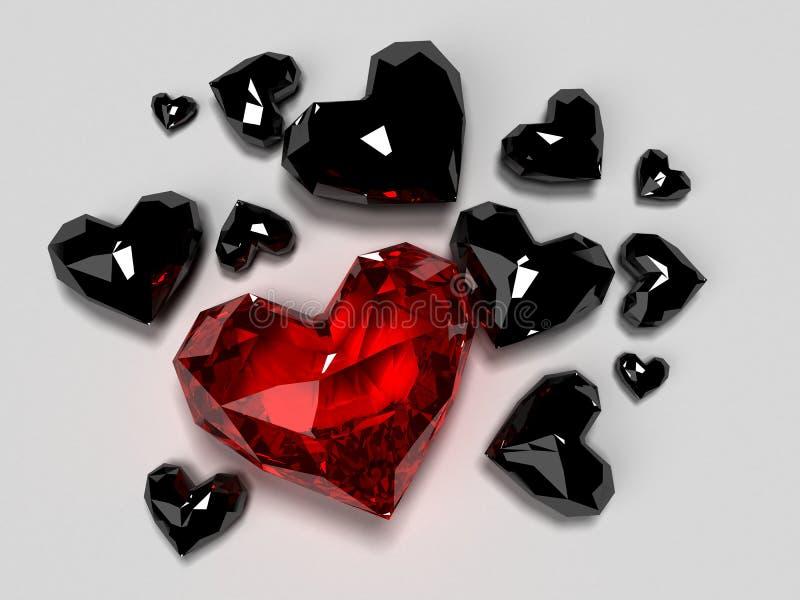 Red diamond heart. 3d rendered illusrartion of some red diamond hearts stock illustration