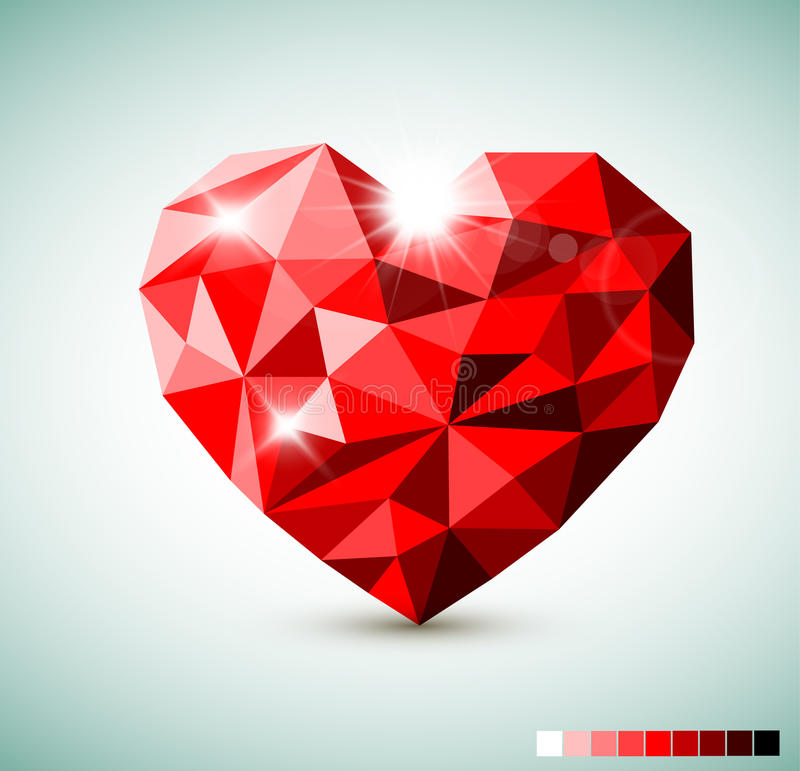 Download Red Diamond jewel heart stock vector. Illustration of color - 37489597