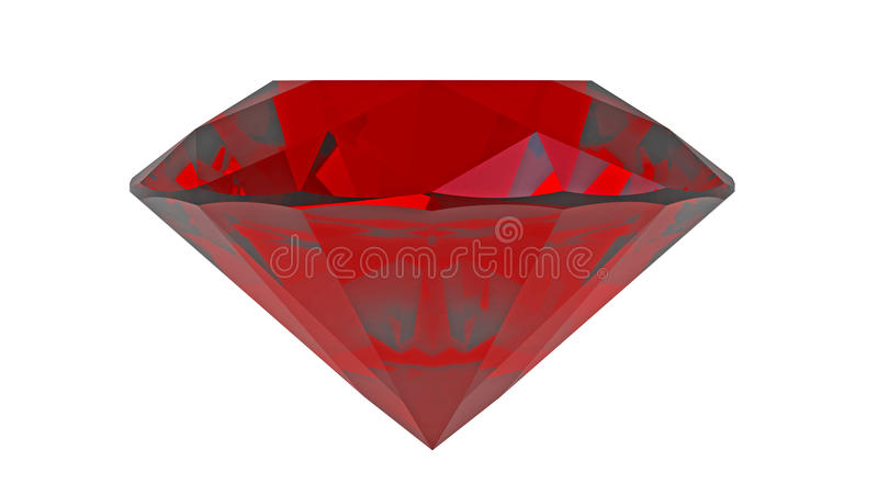 Red diamond ruby. Gemstone isolated on white vector illustration