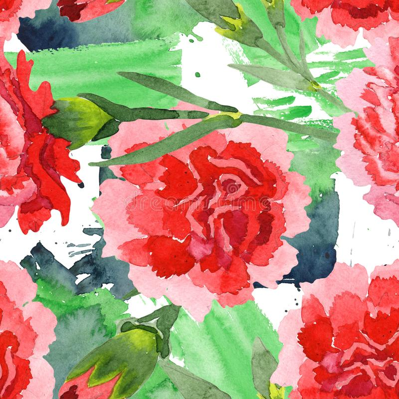 Red dianthus floral botanical flowers. Watercolor background illustration set. Seamless background pattern. Red dianthus floral botanical flowers. Wild spring stock photo