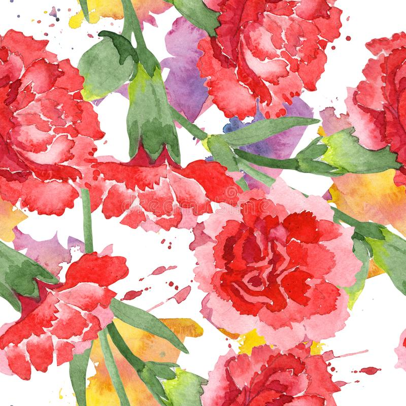 Red dianthus floral botanical flowers. Watercolor background illustration set. Seamless background pattern. Red dianthus floral botanical flowers. Wild spring stock photos
