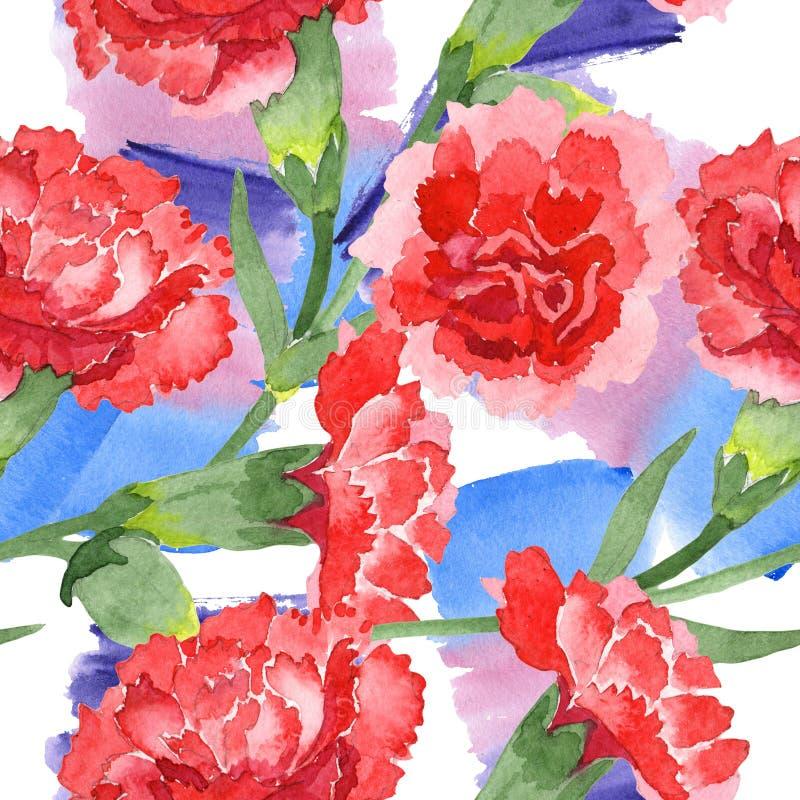 Red dianthus floral botanical flowers. Watercolor background illustration set. Seamless background pattern. Red dianthus floral botanical flowers. Wild spring stock images